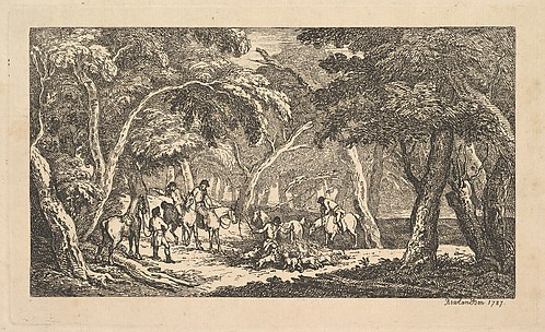 Fox Hunting – A Landscape Scene (from Imitations of Modern Drawings)