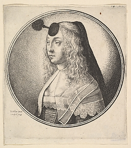 Woman's Head with Forehead Puff and Stalk