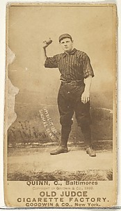 Quinn, Catcher, Baltimore Orioles, from the Old Judge series (N172) for Old Judge Cigarettes
