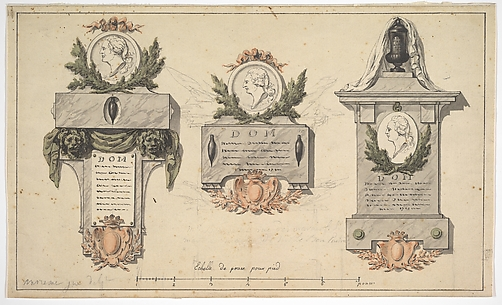 Three Designs for a Funerary Monument or Epitaph