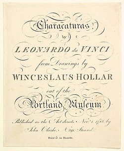 Title Page: Characaturas by Leonardo da Vinci, from Drawings by Wincelslaus Hollar, out of the Portland Museum