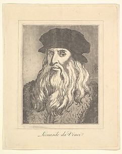 Portrait of Leonardo da Vinci (from Characaturas by Leonardo da Vinci, from Drawings by Wincelslaus Hollar, out of the Portland Museum)