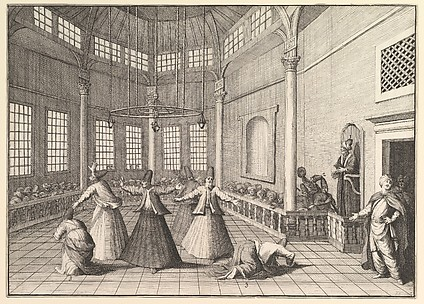 The Inside of a Mosque, the Dervishes Dancing  (La Motraye's Travels, vol. I, pl. 16)