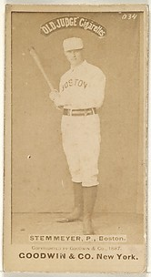 Stemmyer, Pitcher, Boston, from the Old Judge series (N172) for Old Judge Cigarettes