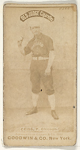 Ceiss, Pitcher, Chicago, from the Old Judge series (N172) for Old Judge Cigarettes