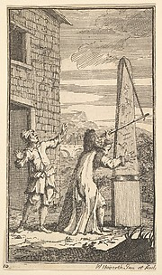 Sidrophel Examining the Kite Through His Telescope (Seventeen Small Illustrations for Samuel Butler's Hudibras, no. 10)