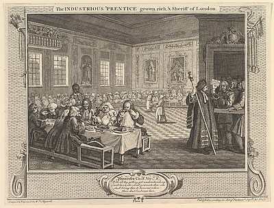 The Industrious 'Prentice Grown Rich and Sheriff of London (Industry and Idleness, plate 8)
