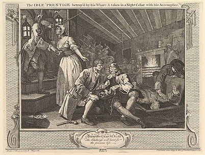 The Idle 'Prentice Betrayed by his Whore and Taken into a Night Cellar with his Accomplice (Industry and Idleness, plate 9)