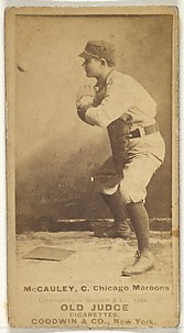 McCauley, Catcher, Chicago, from the Old Judge series (N172) for Old Judge Cigarettes