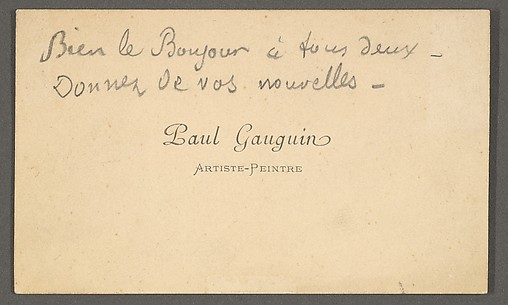 Calling Card:  Paul Gauguin / Artiste-Peintre