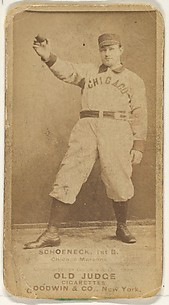 Schoeneck, 1st Base, Chicago, from the Old Judge series (N172) for Old Judge Cigarettes