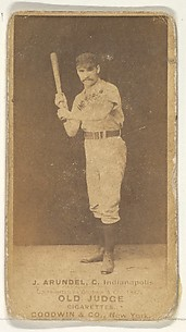 J. Arundel, Catcher, Indianapolis, from the Old Judge series (N172) for Old Judge Cigarettes