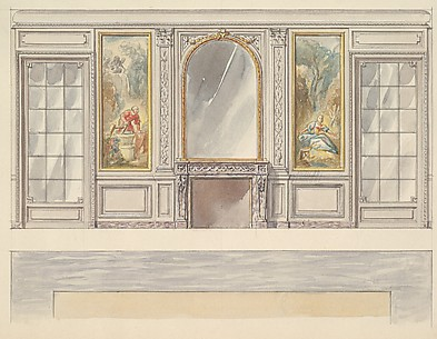 Design for a Wall Elevation with a Chimney Piece, Two Painted Panels (Fourth Floor)