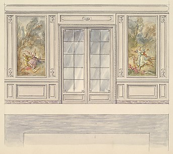 Design for a Wall Elevation with a Double Glass door and Two Painted Panels (Fourth Floor)
