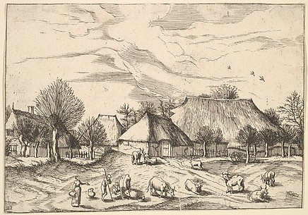 Farms, cattle with herdsmen and milkmaids in the foreground from Multifariarum casularum ruriumque lineamenta curiose ad vivum expressa