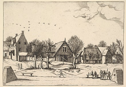 Country Village, archers in the foreground from Multifariarum casularum ruriumque lineamenta curiose ad vivum expressa