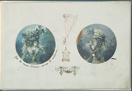 Two Costume Designs or Portrait Studies. Woman with a Bird and a Woman with Binoculars