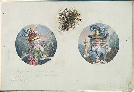Two Costume Designs or Portrait Types of Two Women with Straw Hats