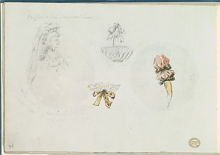 Four Costume Design Sketches of a Woman, a Basket, a Collar, and a Sleeve