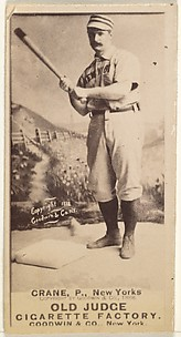 Ed Crane, Pitcher, New York, from the Old Judge series (N172) for Old Judge Cigarettes