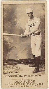 Decker, Catcher, Philadelphia, from the Old Judge series (N172) for Old Judge Cigarettes