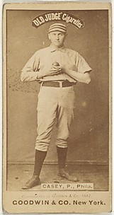 Dan Casey, Pitcher, Philadelphia, from the Old Judge series (N172) for Old Judge Cigarettes