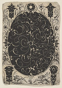 Oval Case Decorated  with Schweifwerk in Two Variants, Surrounded by Smaller Motifs, Flowers and Two Birds Below