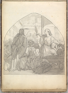 Scene in an Italian City with Figures Near a Fountain  (in Sketch Book With Drawings on Twenty-six Leaves)