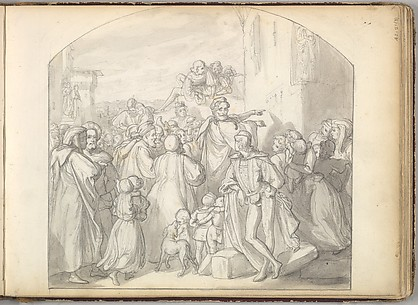 An Artist Drawing on Wall of a Church Watched by a Crowd (in Sketch Book With Drawings on Twenty-six Leaves)
