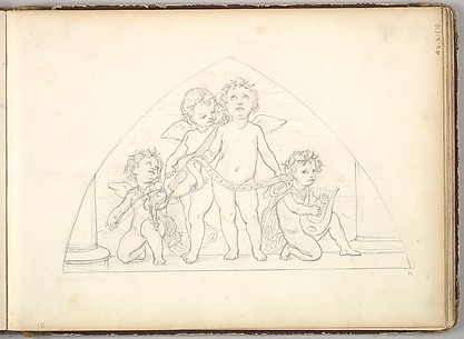Four Musical Putti  (in Sketch Book With Drawings on Twenty-six Leaves)