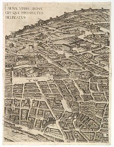 Plan of the City of Rome. Part 2 with the Trinita dei Monti, Palazzo Borghese and the Baths of Diocletian