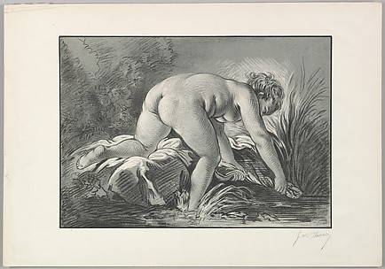 Woman Washing Linen in a Stream