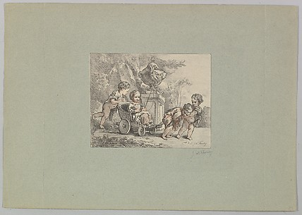 Four Children Playing with a Child's Carriage