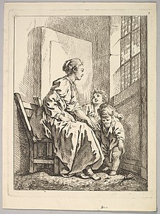 Woman Seated Before a Window, with Two Children at her Knee