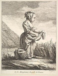 Little girl with a vessel by her feet, from Premier Livre de Figures d'après les porcelaines de la Manufacture Royale de France, inventées en 1757, par Mr. Boucher (First Book of Figures after porcelains from the Manufacture Royale de France, devised in 1757, by Mr. Boucher)