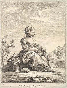 Little girl holding grapes with a basket of them by her side, from Deuxième Livre de Figures d'après les porcelaines de la Manufacture Royale de France (Second Book of Figures after porcelains from the Manufacture Royale de France)