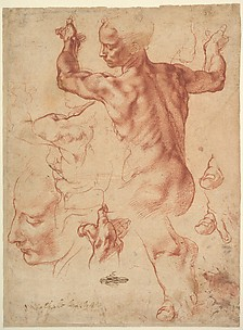Studies for the Libyan Sibyl (recto); Studies for the Libyan Sibyl and a small Sketch for a Seated Figure (verso)