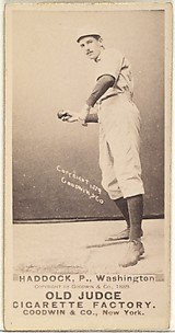 George Silas Haddock, Pitcher, Washington Nationals, from the Old Judge series (N172) for Old Judge Cigarettes