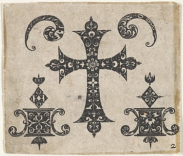 Blackwork Print with a Latin Cross and Small Motifs