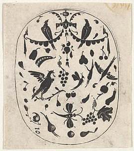 Oval Blackwork Print with Birds, Insects and Fruits