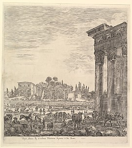 Temple of Antoninus and Forum Borium in Rome, from Six grandes vues, dont quatre de Rome et deux de la Campagne romaine
