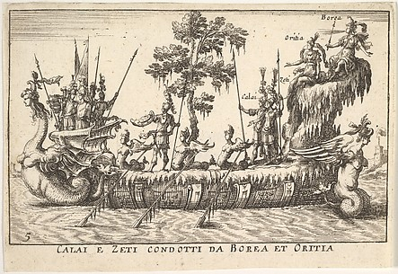 Calai e Zeti condotti da Borea et Oritia, from The magnificent pageant on the Arno in Florence for the marriage of the Grand Duke (Le Manifique Carousel fait sur le fleuve de l'Arne a Florence, pour le mariage du grand Duc)