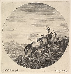 A Shepherd on a Horse Driving a Group of Animals Downhill, from Six sujets d'animaux