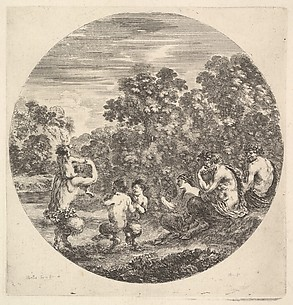 Two Satyrs and a Faun Watching Two Small Satyrs and another Satyr with an Infant on his Shoulders Dance, from Six sujets d'animaux