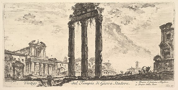 Ruins of the Temple of Jupiter Stator (Jupiter the Supporter). 1. Temple of Antoninus and Faustina. 2. Temple of Peace. (Vestigi del Tempio di Giove Statore. 1. Tempio d'Antonino e Faustina. 2. Tempio della Pace.)