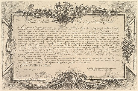 Dedication to Giovanni Bottari (Dédicace à Bottari)