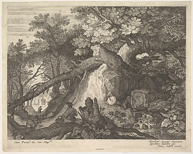 Man and Four Goats near a Waterfall, from Six Landscapes