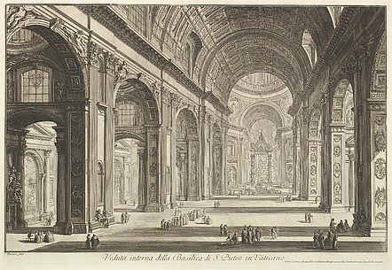 Interior view of St. Peter's Basilica in the Vatican, from Vedute di Roma (Roman Views)