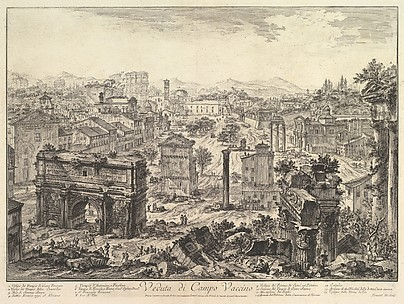 The Forum Romanum, or Campo Vaccino, from the Capitol, with the Arch of Septimius in the foreground left, Temple of Vespian right, and the Colosseum in the distance (Veduta di Campo Vaccino)