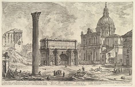 The Arch of Septimus Severus, with the Church of S. Martina on the right (Arco di Settimio Severo)